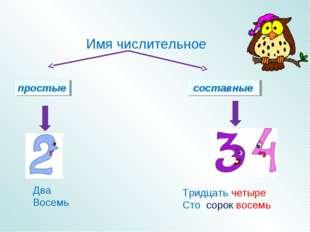 простые составные Имя числительное Два Восемь Тридцать четыре Сто сорок восемь