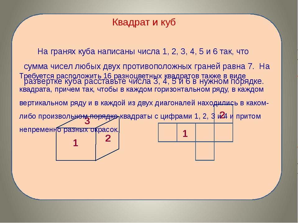 Квадрат и куб На гранях куба написаны числа 1, 2, 3, 4, 5 и 6 так, что сумма...