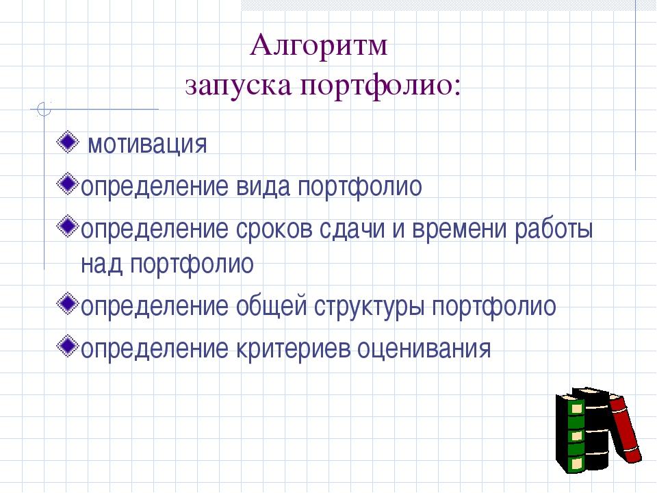 Алгоритм запуска портфолио: мотивация определение вида портфолио определение...