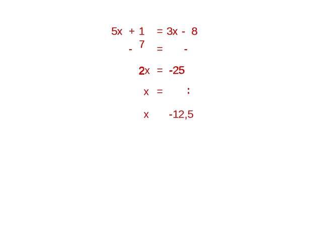 5х = 3х 5х + 17 - 8 2х = = - 17 - 8 - 3х -25 = х = х -12,5 -25 2 :