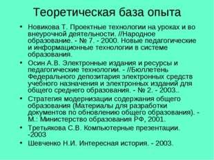 Теоретическая база опыта Новикова Т. Проектные технологии на уроках и во внеу