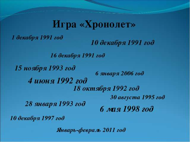Игра «Хронолет» 1 декабря 1991 год 10 декабря 1991 год 16 декабря 1991 год 15...