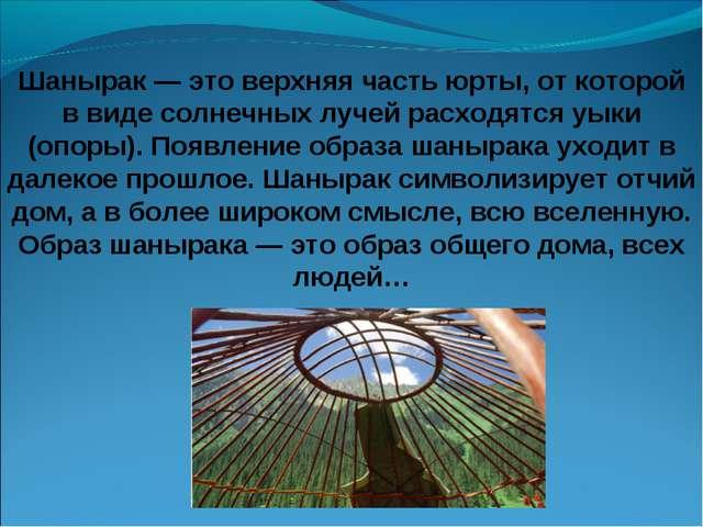Шанырак — это верхняя часть юрты, от которой в виде солнечных лучей расходятс...