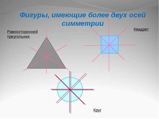 Фигуры, имеющие более двух осей симметрии Равносторонний треугольник Квадрат...