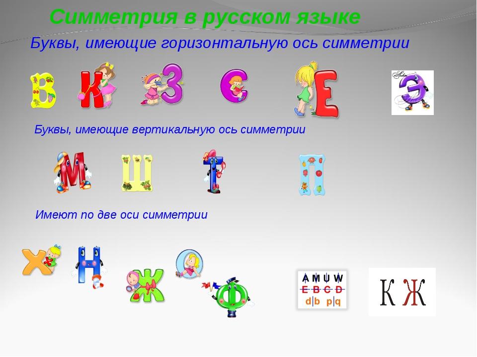 Буквы, имеющие горизонтальную ось симметрии Буквы, имеющие вертикальную ось...