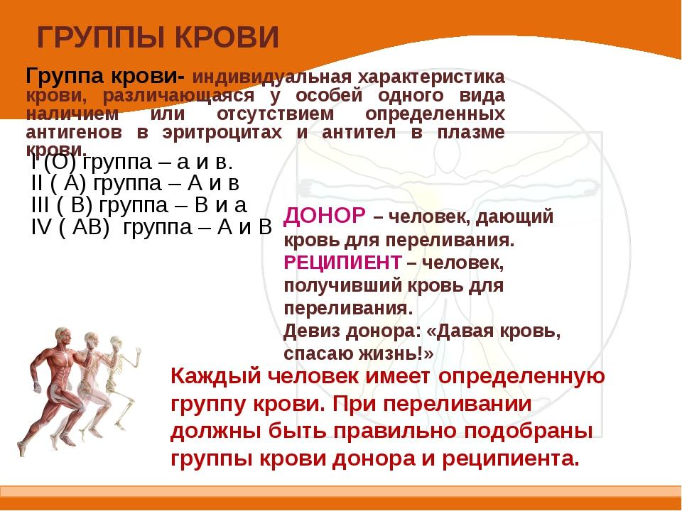 ГРУППЫ КРОВИ Группа крови- индивидуальная характеристика крови, различающаяся...