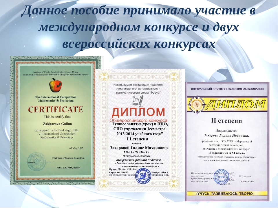 Данное пособие принимало участие в международном конкурсе и двух всероссийски...
