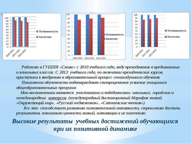 Обучение грамоте и письму Математика Познание мира Высокие результаты учебных...