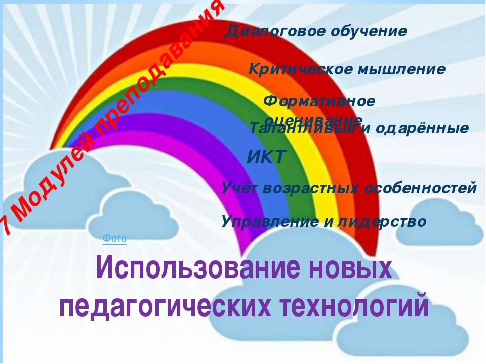 Использование новых педагогических технологий Диалоговое обучение Критическое...