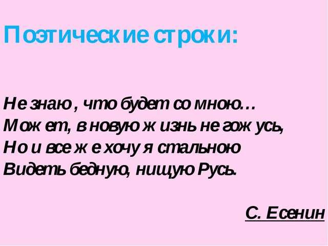 Поэтические строки: Не знаю , что будет со мною… Может, в новую жизнь не гожу...
