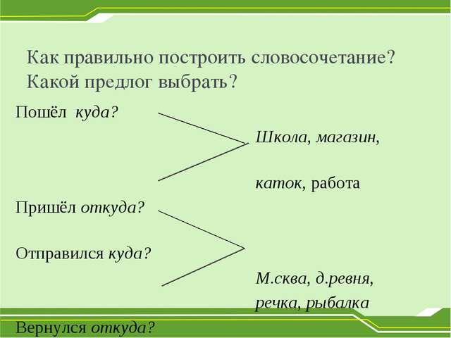 Как правильно построить словосочетание? Какой предлог выбрать? Пошёл куда? Шк...