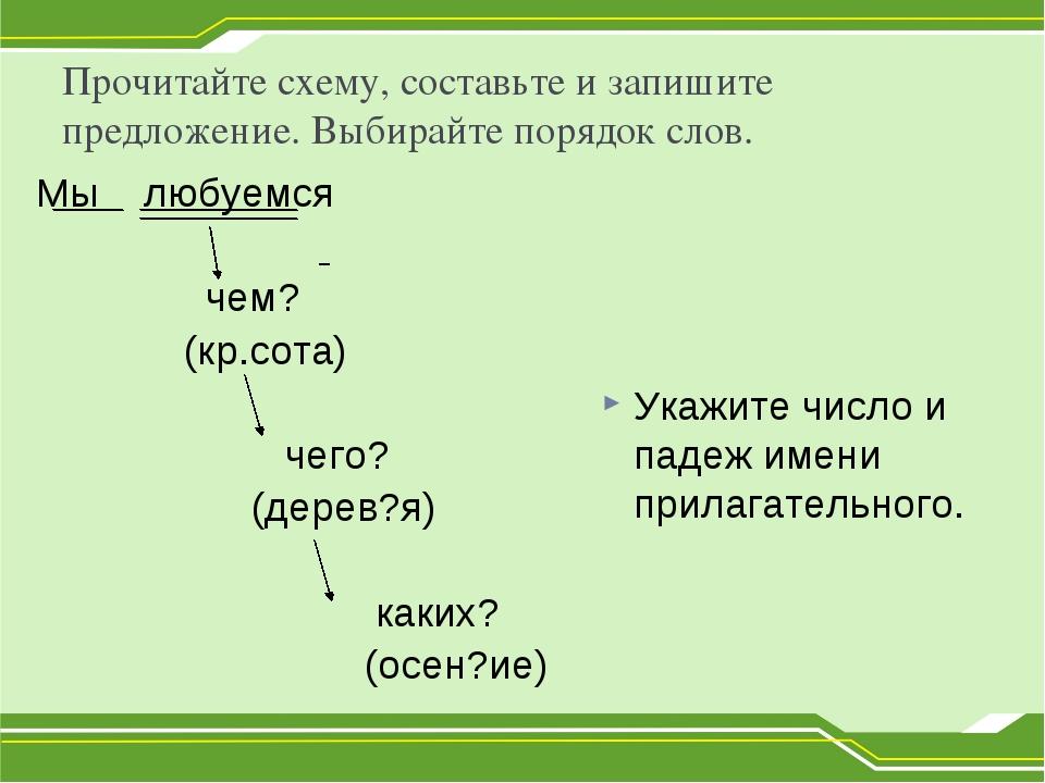 Прочитайте схему, составьте и запишите предложение. Выбирайте порядок слов. М...