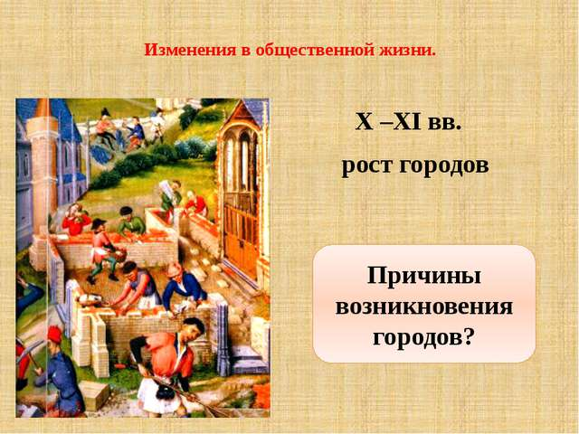 Изменения в общественной жизни. X –XI вв. рост городов Причины возникновения...