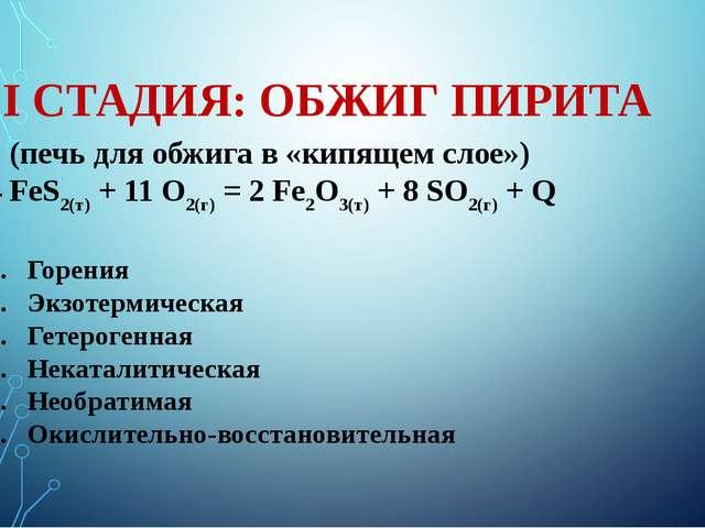 I СТАДИЯ: ОБЖИГ ПИРИТА (печь для обжига в «кипящем слое») 4 FeS2(т) + 11 O2(г...