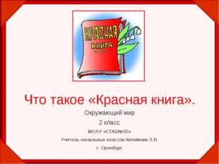 Что такое «Красная книга». Окружающий мир 2 класс МОАУ «СОШ№32» Учитель начал