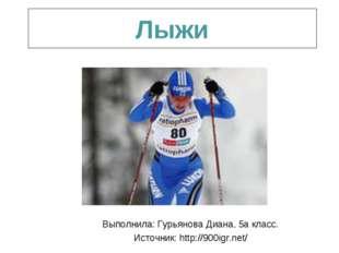Лыжи Выполнила: Гурьянова Диана, 5а класс. Источник: http://900igr.net/