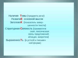 Наличие Темы (предмета речи) РазвитиЕ основной мысли ЗаголовоК (показатель з