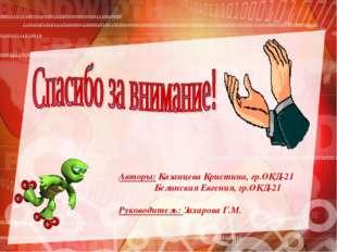 Авторы: Казанцева Кристина, гр.ОКД-21 Белинская Евгения, гр.ОКД-21 Руководите