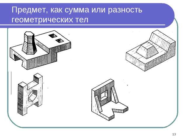 * Предмет, как сумма или разность геометрических тел