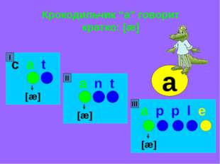 """Крокодильчик """"a"""" говорит кратко: [æ] c a t a n t a p p l e [æ] [æ] [æ] I II I"""