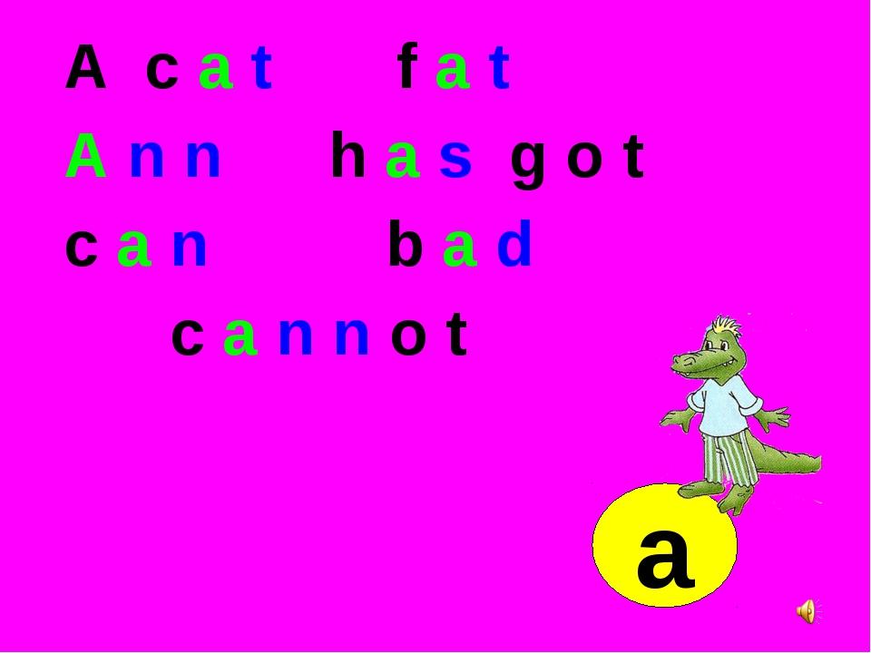 A c a t f a t A n n h a s g o t c a n b a d c a n n o t a