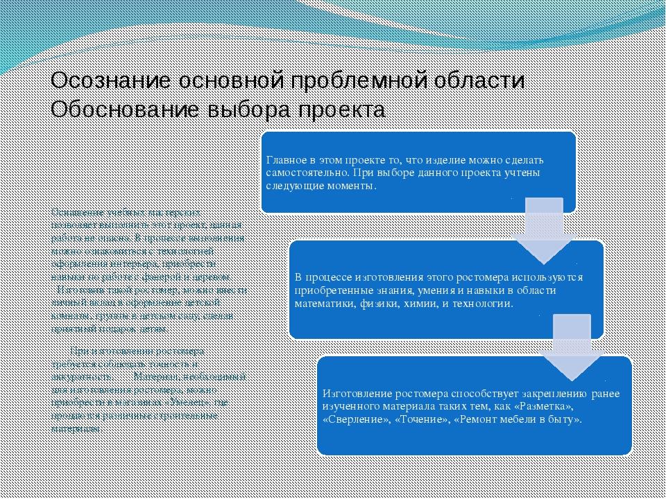Осознание основной проблемной области Обоснование выбора проекта Оснащение уч...