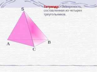 Тетраэдр – поверхность, составленная из четырех треугольников.
