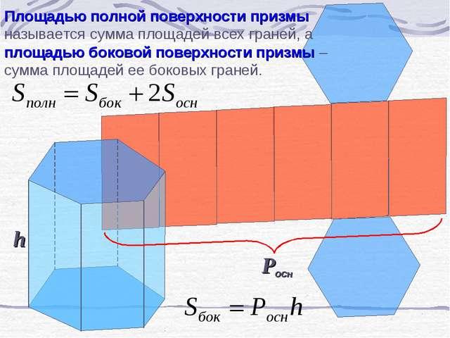 Площадью полной поверхности призмы называется сумма площадей всех граней, а п...