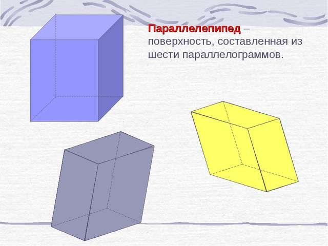 Параллелепипед – поверхность, составленная из шести параллелограммов.