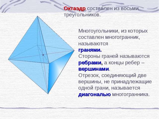 Октаэдр составлен из восьми треугольников. Многоугольники, из которых составл...