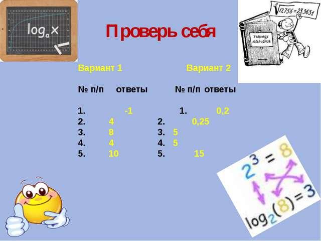 Проверь себя Вариант 1 Вариант 2  № п/п ответы № п/п ответы 1. -1 1. 0,2...
