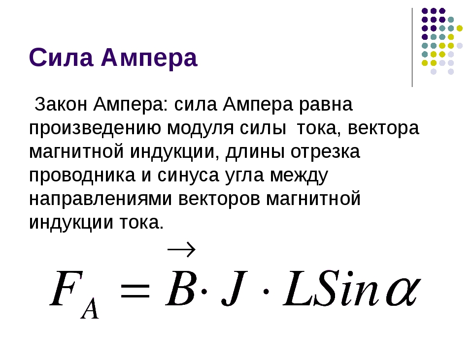 Сила Ампера Закон Ампера: сила Ампера равна произведению модуля силы тока, ве...