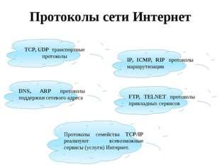 Протоколы сети Интернет TCP, UDP транспортные протоколы IP, ICMP, RIP протоко