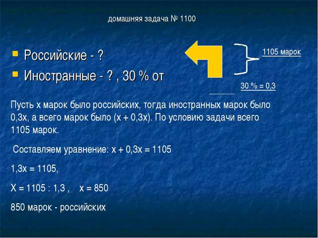 домашняя задача № 1100 Российские - ? Иностранные - ? , 30 % от Пусть х марок...