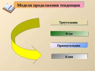 Модели продолжения тенденции Флаг Треугольник Прямоугольник Клин