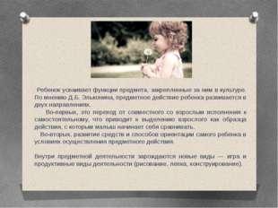 Ребенок усваивает функции предмета, закрепленные за ним в культуре. По мнени