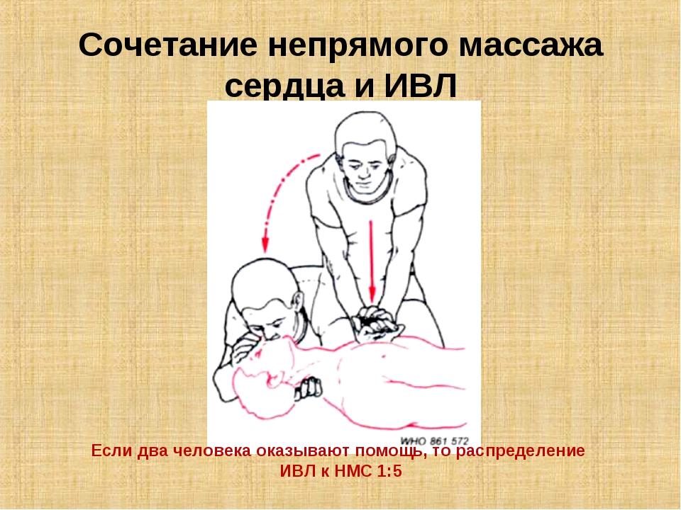 Сочетание непрямого массажа сердца и ИВЛ Если два человека оказывают помощь,...