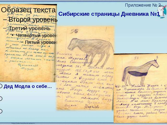 Дед Модла о себе… Сибирские страницы Дневника №1 Приложение № 2