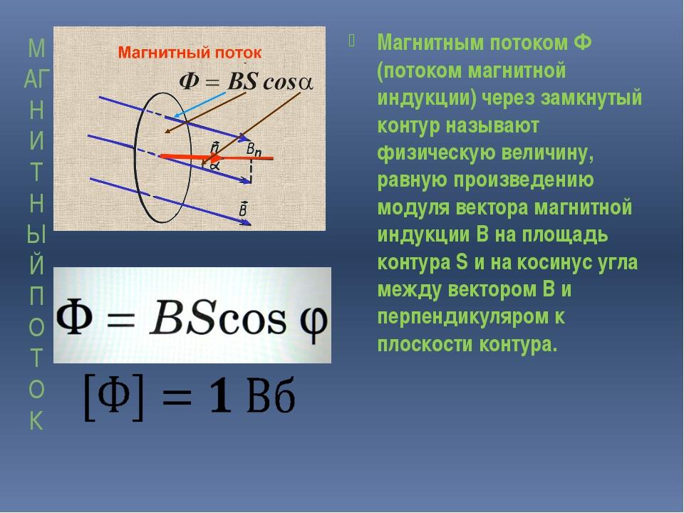 МАГНИТНЫЙ ПОТОК Магнитным потоком Ф (потоком магнитной индукции) через замкну...