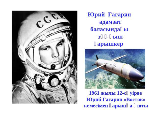 1961 жылы 12-сәуiрде Юрий Гагарин «Восток» кемесiмен ғарышқа ұшты Юрий Гагари...