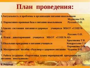 План проведения: 1.Актуальность и проблемы в организации питания школьников