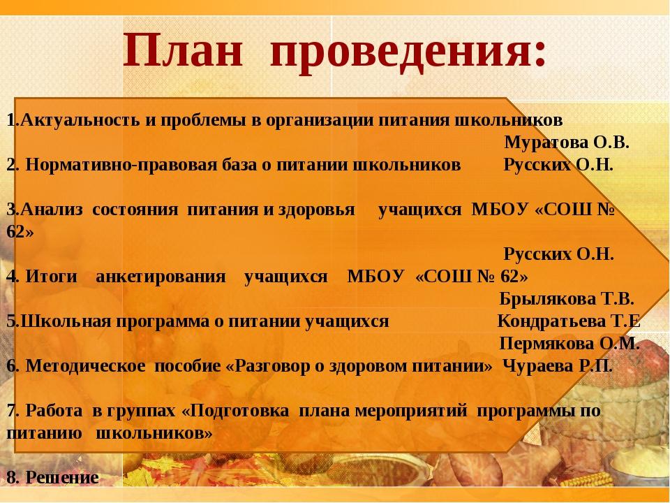 План проведения: 1.Актуальность и проблемы в организации питания школьников...