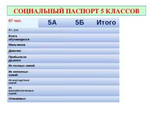 СОЦИАЛЬНЫЙ ПАСПОРТ 5 КЛАССОВ 67 чел.5А5БИтого Кл. рук. Всего обучающихс