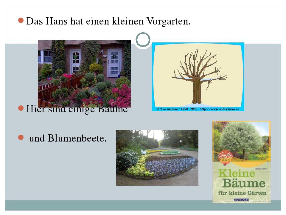 Das Hans hat einen kleinen Vorgarten. Hier sind einige Bäume und Blumenbeete.