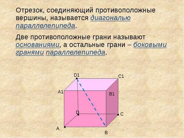 Отрезок, соединяющий противоположные вершины, называется диагональю параллеле...