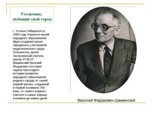 Усольчане, любящие свой город г. Усолье-Сибирского в 1982 году открылся музей