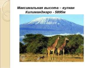 Максимальная высота – вулкан Килиманджаро - 5895м