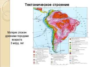 Тектоническое строение Материк сложен древними породами возраста 3 млрд. лет