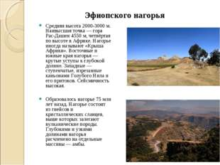 Эфиопского нагорья Средняя высота 2000-3000 м. Наивысшая точка — гора Рас-Даш
