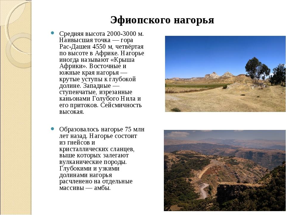 Эфиопского нагорья Средняя высота 2000-3000 м. Наивысшая точка — гора Рас-Даш...
